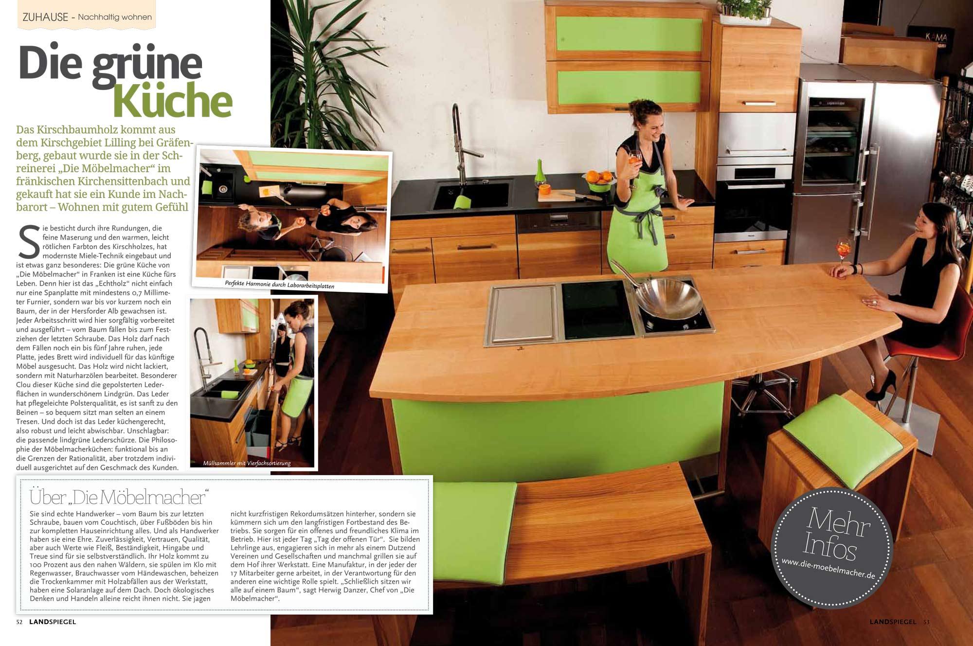 Das Lifestylemagazin Landspiegel Berichtet über Die Grüne Küche Der  Möbelmacher